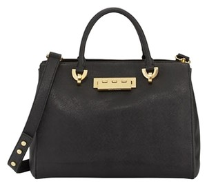 Zac Posen Barrel Leather Tote New Tags Dust Cover Satchel in Black