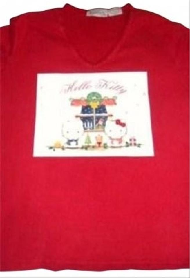 Tee shirt red tops tradesy for Hello kitty t shirt design