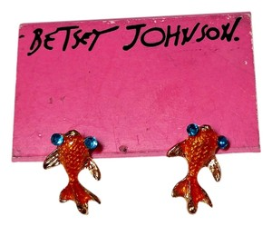 Betsey Johnson Betsey Johnson GoldFish Stud Earrings (pierced) Orange Blue New J1841