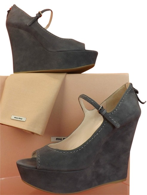 Item - Gray Clay Suede Peep Toe Mary Jane Wedge 10 Platforms Size EU 41 (Approx. US 11) Regular (M, B)