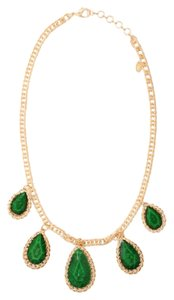 Amrita Singh NWT Amrita Singh Necklace Gold & Emerald Tone Teardrop Bib Necklace / Belt