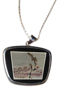 Nature's Paintbrush Jasper Gemstone Necklace Sterling Silver N053