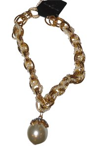 Other Faux Pearl Braided Chunky Necklace Large Pendant White Gold J1842