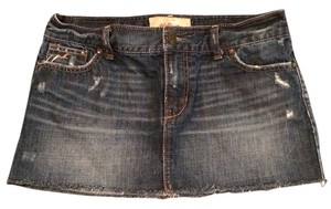 Hollister Mini Distressed Mini Skirt Denim