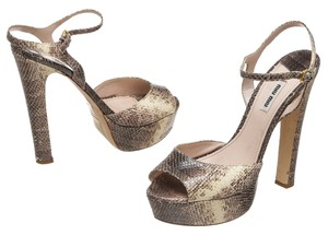 Miu Miu Brown and Cream Pumps