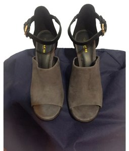Coach Grey Suede / Black Leather / Dark Brown Mules
