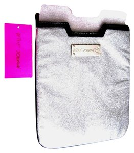 Betsey Johnson NWT Betsey Johnson SILVER glitter eReader mini iPad slip cove case.