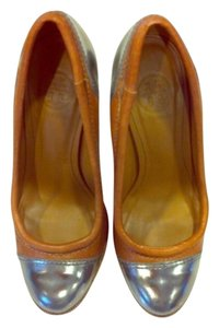 Tory Burch Metallic Congnac Two Toned Heel Brown Pumps
