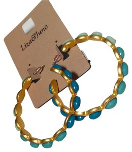 Liza & Juno Liza & Juno Large Hoop Earrings Blue Green Gold 2 Inch J1844