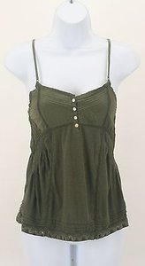 Aéropostale Pintuck Smock Beaded Lace B109 Top Army Green