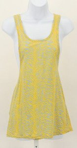 BCBGeneration Yellow Lt Blue Animal Racerback B109 Top Yellow Gray