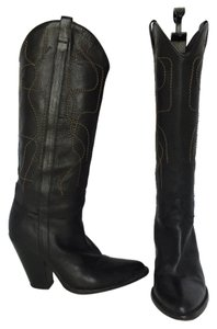 Sartore Soft Leather Knee High Pull On Cowboy Black Boots
