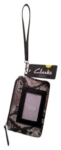 Clarks Print Wristlet in Black White Brown Grey Gray Alligator