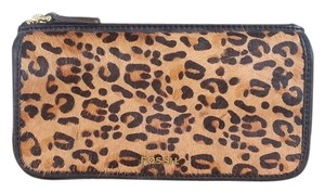 Fossil Haircalf Leopard Print Wallet Black Leather black/leopard Clutch