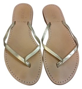 J.Crew Leather Gold Sandals