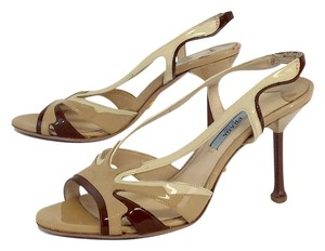 Prada Nude Cream Patent Leather Sandals