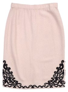 St. John Pink Black Brocade Knit Skirt