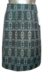 Akris Punto Wool Flounce A-line Fitted Skirt Coal Grey with hints of green, blue and brown