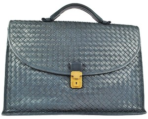 Bottega Veneta Auth BOTTEGA VENETA Intrecciato Leather Brief Case Dark Blue Hand Bag LP01799