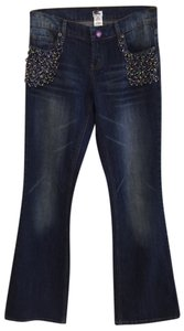 Cache Peacock Mardi-gras Beaded Embellished Flare Leg Jeans-Distressed