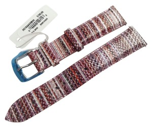 Michele Michele 18mm Berry Stripe Leather Watch Band Strap MS18AA430844