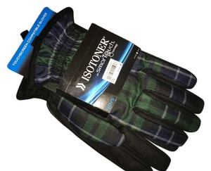 Isotoner NWT- MEN'S XL ISOTONER BLACK PLAID GLOVES SMART TOUCH TECH Orig $55