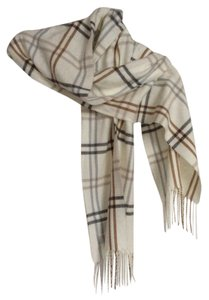 Cejon Made in Italy CEJON Ivory Brown Gray Light Blue Plaid Soft Scarf