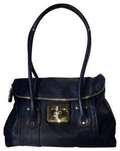 B. Makowsky Glove Leather Silver Hardware Gold Hardware Turnlock Flap Front Rolled Handles Satchel in Navy