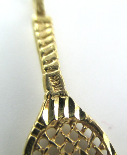 Other 14K YELLOW GOLD PENDANT CHARM TENNIS RACKET 1.5 GRAMS SOLID FINE JEWELRY SPORT