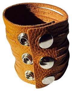 Nakamol Wide Pebbled Camel Leather Strips Cuff Bracelet