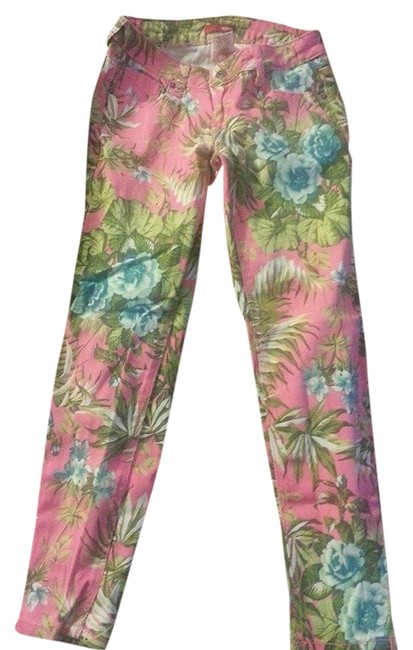 Bongo Fun Summer Floral Bright Capri/Cropped Pants Pink