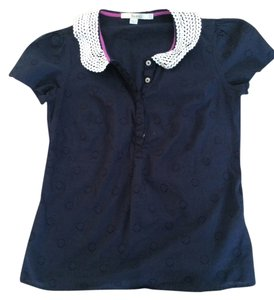 Boden Peter Pan Collar Top Navy Blue