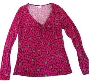 Boden Knot Front Machine Washable Top Bright Pink with plum & sage accents