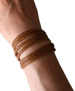 Nakamol Adjustable Leather Strips Cuff - Pebbled Camel