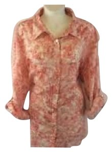 Talbots White Floral Blouse Button Down Shirt Pink