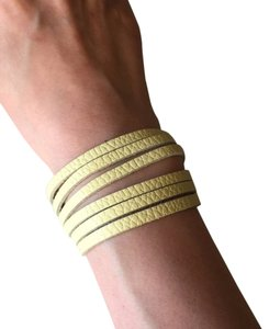 Nakamol Adjustable Leather Strips Cuff - Pebbled Butter