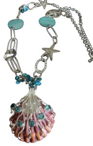 Gypsy Gems *Gypsy Gems* Handmade Seashell Necklace with Blue Topaz Gemstones