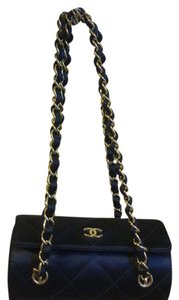 Chanel Quilted Double Chain Box Black Messenger Bag