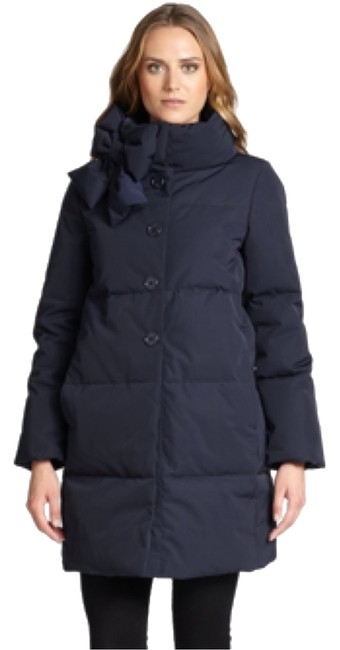 Item - Navy Blue Funnel-neck Down Puffer with Bow Detail Coat Size 4 (S)