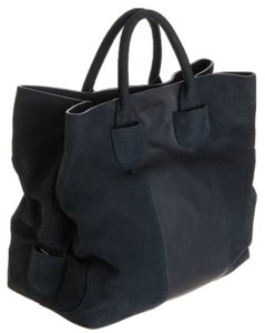 Carven Leather Suede Convertible Tote in Black