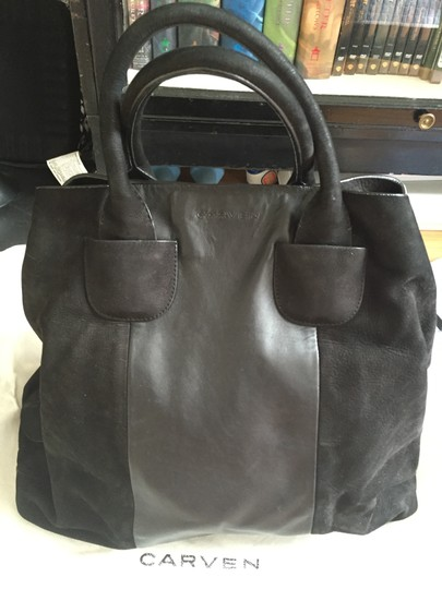 Carven Leather Suede Convertible Tote in Black Image 1