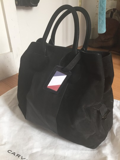 Carven Leather Suede Convertible Tote in Black Image 8
