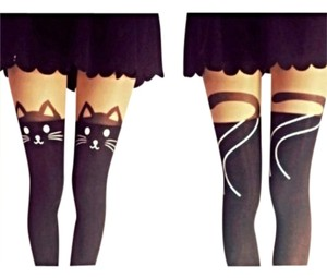 Amor Amor Cat Tail Tights Stockings Knee High Design Kitty Meow