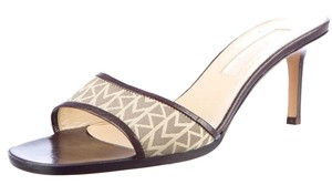 Michael Kors Logo Slide Kitten Heel Open Toe Mule Brown, Beige Sandals