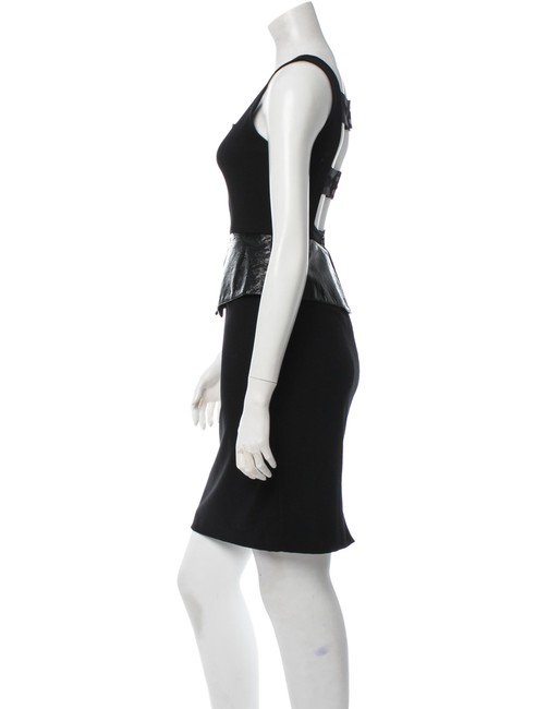 Alice + Olivia Peplum Cut-out Leather Fitted Dress