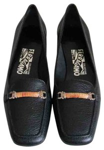 Salvatore Ferragamo Pebbled Leather Black Pumps