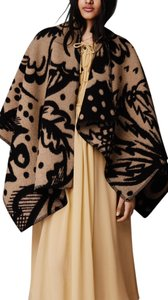 Burberry Prorsum Wrap Cashmere Wool Camel Tan Black Thistle Dot Floral Polka Dot Sweater Fall Winter Soft Warm Prorsum Cape