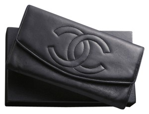 Chanel Authentic CHANEL CC Logo Genuine Leather Bifold Long Wallet