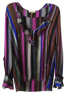 Emilio Pucci Top grey, pink, blue, brown, stripes