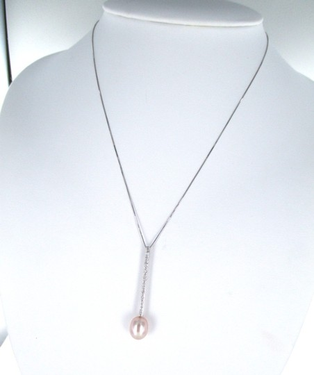 le 14KT SOLID WHITE GOLD NECKLACE PINK ROSE PEARL 24 DIAMONDS LE DESIGNER PENDANT